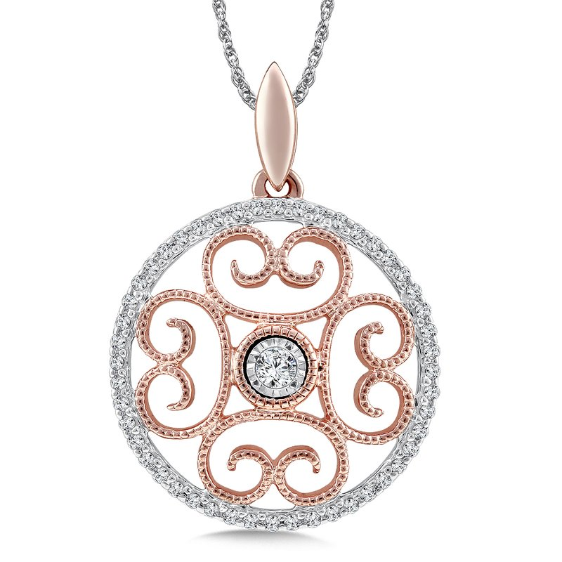 SDC Creations Diamond Pendant in 14K White/Rose Gold (.16 ct. tw.)