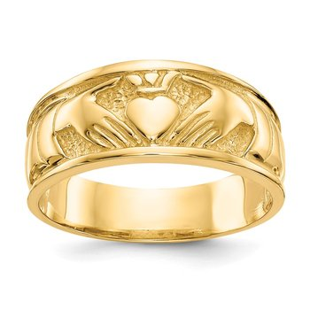 14k Polished Claddagh Band