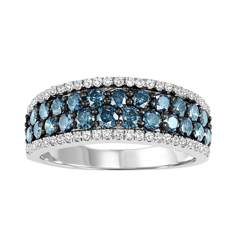 Bridal Bells 14K Blue & White Diamond Band 1 1/3 ctw