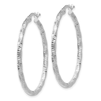 14K White Gold Polished and Textured Hoop Earrings