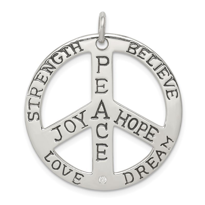 Quality Gold Sterling Silver Polished CZ Antiqued Peace Inspiration Pendant