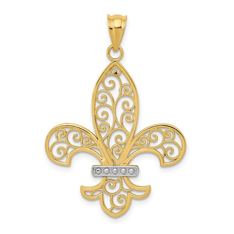 Quality Gold 14k and Rhodium Filigree Fleur de Lis Pendant