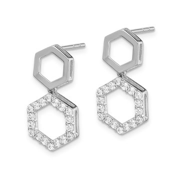 14k White Gold Diamond Fancy Hexagon Post Dangle Earrings