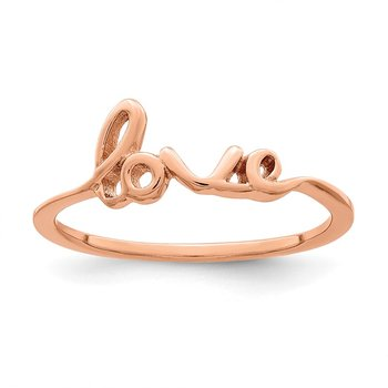 Sterling Silver Rose Gold-Plated Love Ring