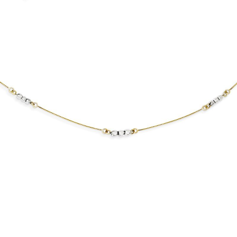 Quality Gold 14K Two-Tone Mirror Beaded Necklace