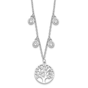 Sterling Silver Rhodium-plated CZ with Tree with 1in ext. Necklace