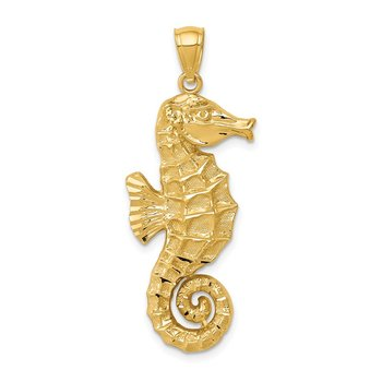 14k Diamond-cut Polished Seahorse Pendant