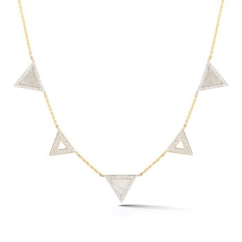 Trendy triangle necklace . Combines diamonds T.W 0.44ct along with M.O.P