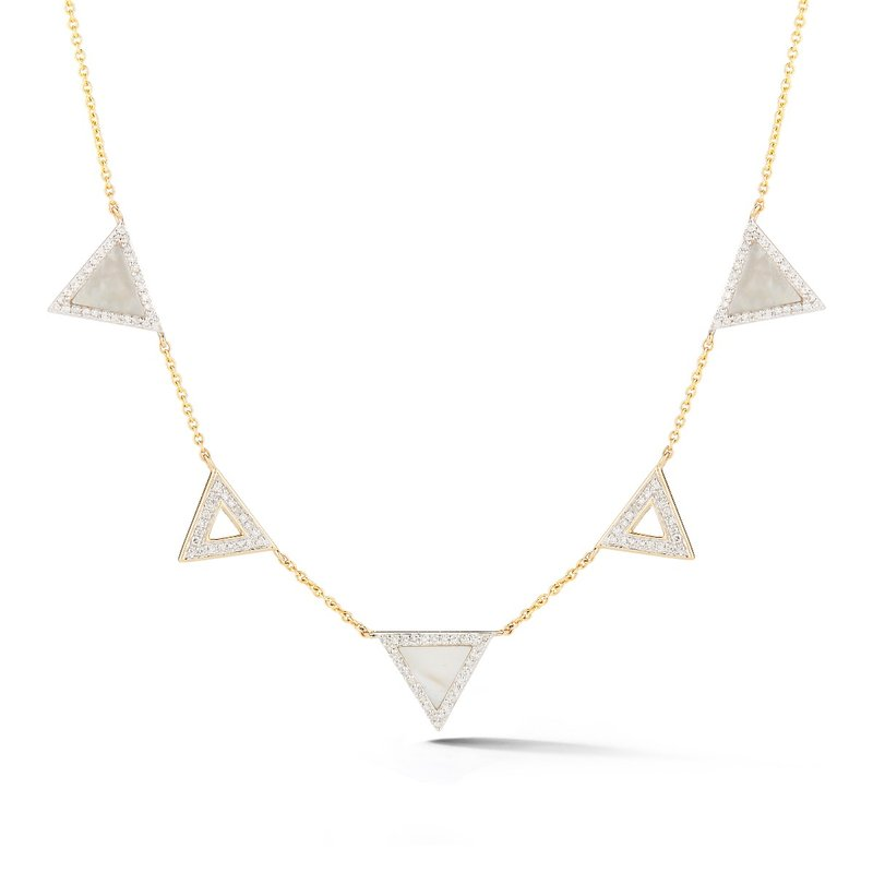 Shula NY Trendy triangle necklace . Combines diamonds T.W 0.44ct along with M.O.P