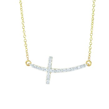 14K Gold .22ct Diamond Side Cross Necklace