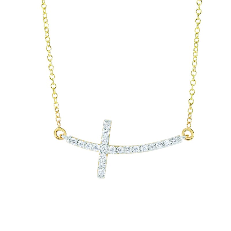Royal Chain 14K Gold .22ct Diamond Side Cross Necklace