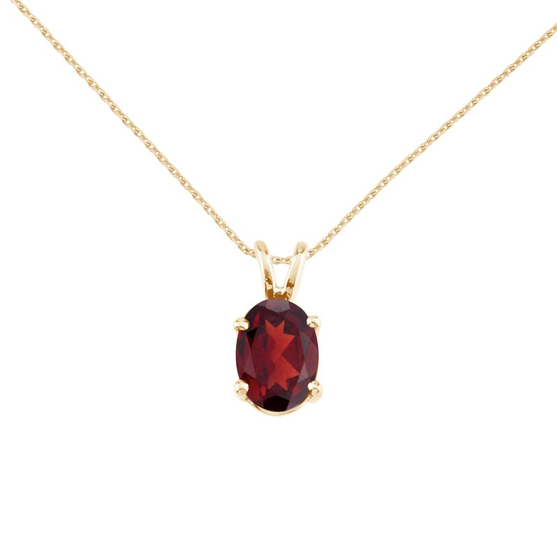 Color Merchants 14k Yellow Gold Oval Garnet Pendant
