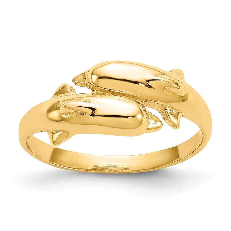 Quality Gold 14k Double Dolphin Ring