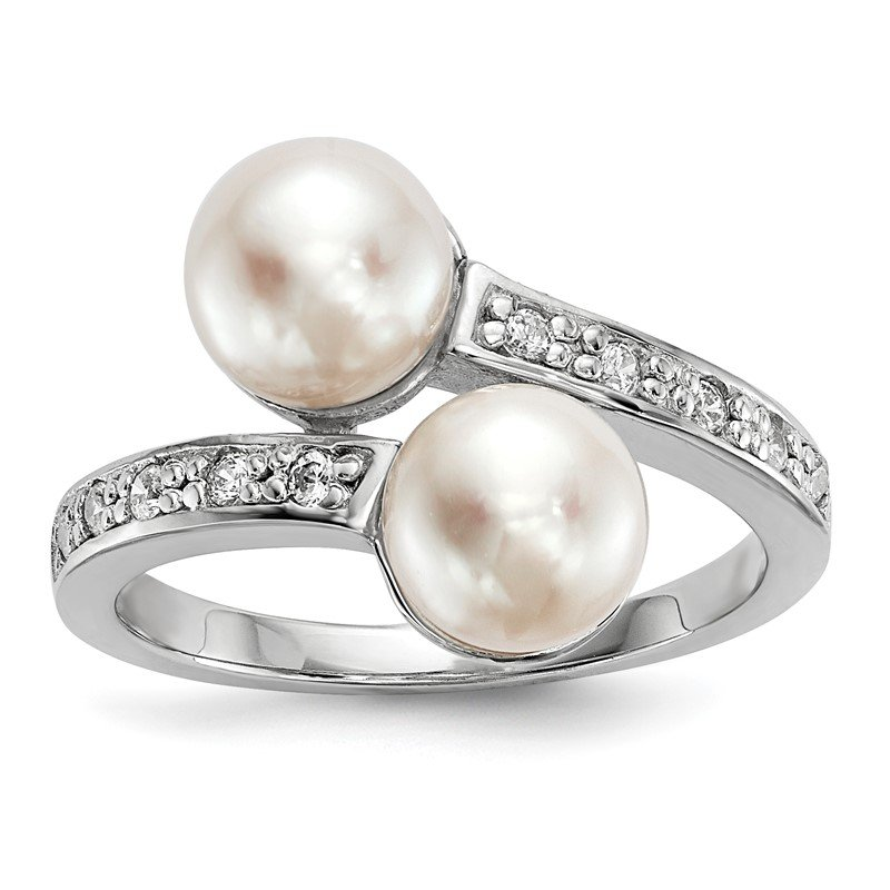 Quality Gold Sterling Silver RH 7-8mm Button Freshwater Cultured Pearl CZ Ring