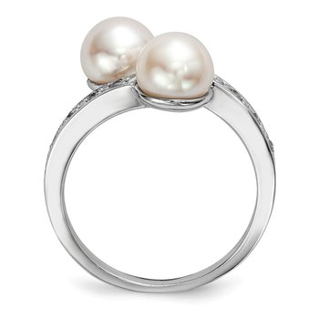 Sterling Silver RH 7-8mm Button Freshwater Cultured Pearl CZ Ring