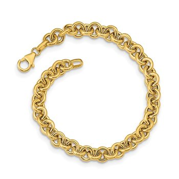 14k Polished Fancy 6.5mm Rolo Link Bracelet