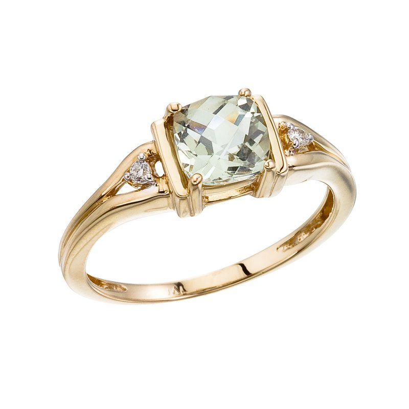 Color Merchants 14K Yellow Gold Green Amethyst and Diamond Ring