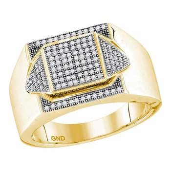 10kt Yellow Gold Mens Round Diamond Elevated Square Cluster Ring 1/3 Cttw
