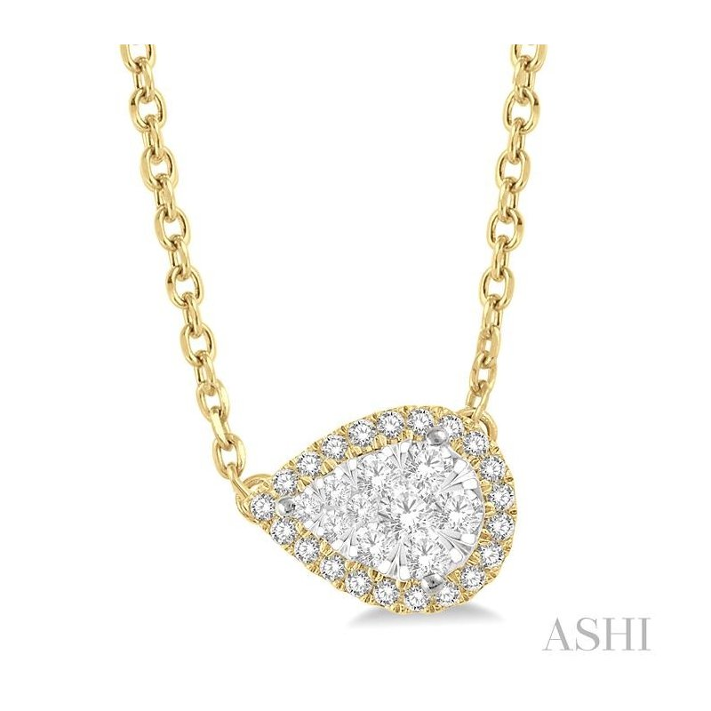 ASHI pear shape lovebright diamond necklace