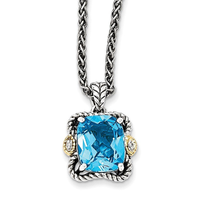 Shey Couture Sterling Silver w/14k Antiqued Blue Topaz and Diamond Necklace