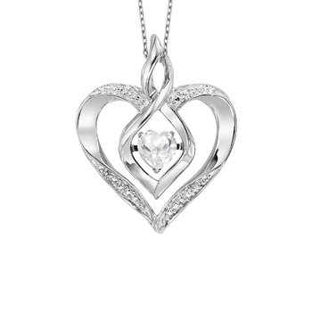 Diamond & Synthetic White Topaz Heart Infinity Symbol ROL Rhythm of Love Pendant in Sterling Silver