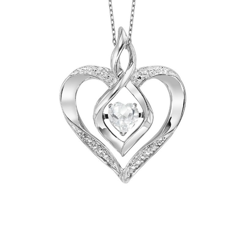 Gems One Diamond & Synthetic White Topaz Heart Infinity Symbol ROL Rhythm of Love Pendant in Sterling Silver