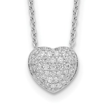 Sterling Silver Rhodium Plated CZ Heart w/1.5in ext Necklace