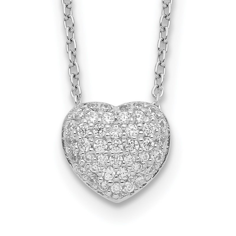 Quality Gold Sterling Silver Rhodium Plated CZ Heart w/1.5in ext Necklace