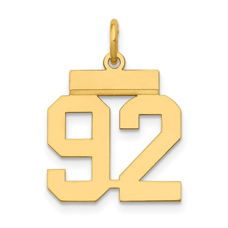 Quality Gold 14k Small Polished Number 92 Charm