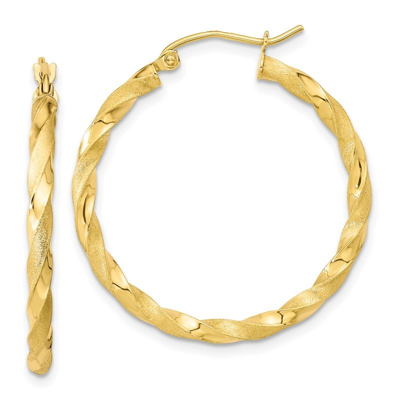 Quality Gold 10k Polished & Satin Twisted Hoop Earrings