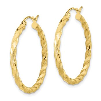 10k Polished & Satin Twisted Hoop Earrings