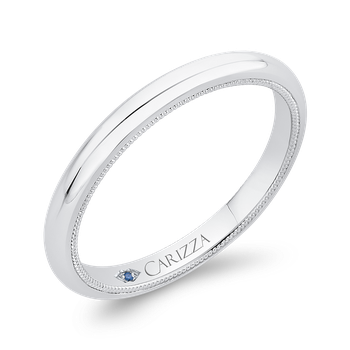 Plain Wedding Band In 18K White Gold