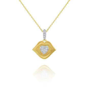 14k Gold and Diamond Kiss Necklace