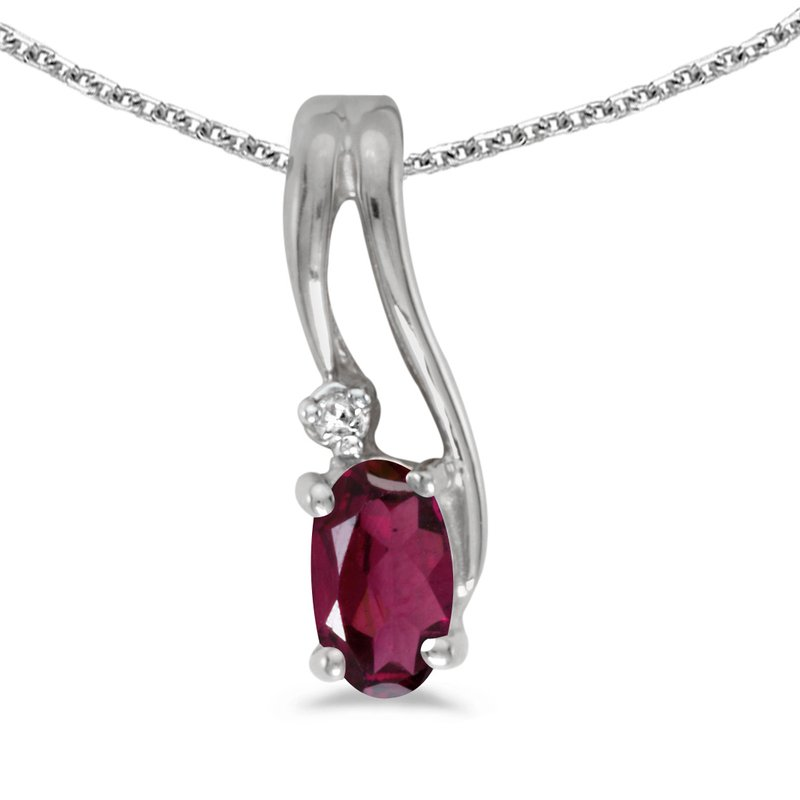 Color Merchants 14k White Gold Oval Rhodolite Garnet And Diamond Wave Pendant