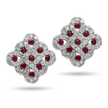 14K WG Diamond and Ruby Stud Earring