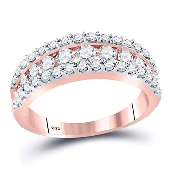 14kt Rose Gold Womens Round Cognac-brown Color Enhanced Diamond Band Ring 1.00 Cttw
