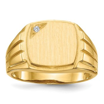 14k 11.5x12.0mm Grooved Sides Open Back AA Diamond Men's Signet Ring