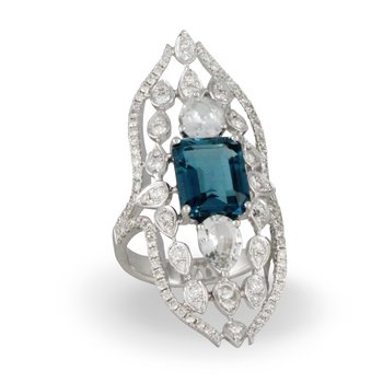 London Blue Vintage Style Ring 18KW
