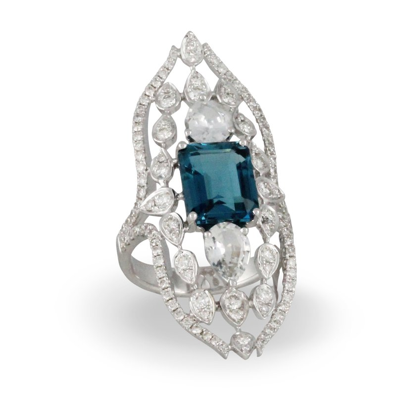 Doves London Blue Vintage Style Ring 18KW