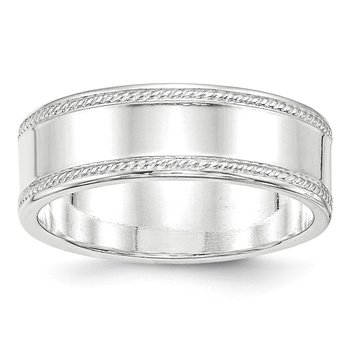 Sterling Silver 7mm Design Edge Band