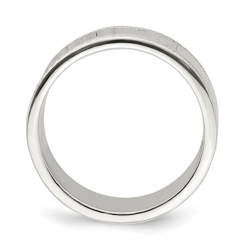 Quality Gold Sterling Silver 7mm Design Edge Band