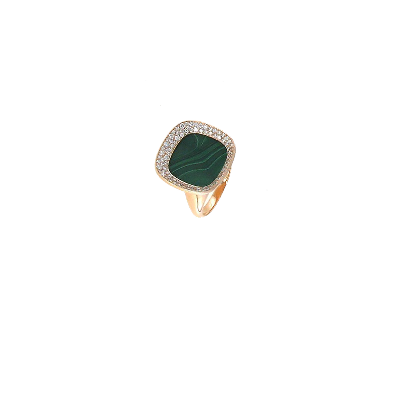 Roberto Coin 18Kt Gold Small Ring With Malachite And Diamonds