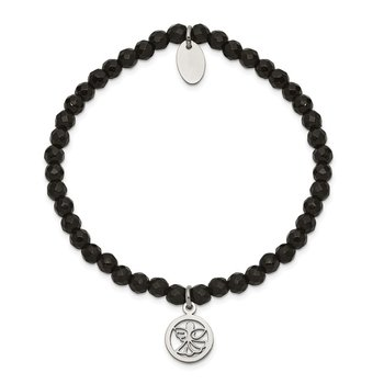 Stainless Steel Polished Angel Black Jade Beaded Stretch Bracelet