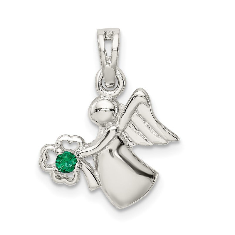 Quality Gold Sterling Silver Green Clover Crystal Angel Pendant