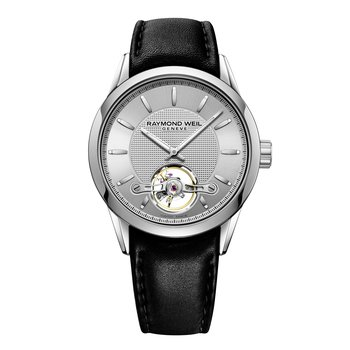 Automatic open balance wheel, 42mm Calibre RW1212, steel on leather strap, silver dial