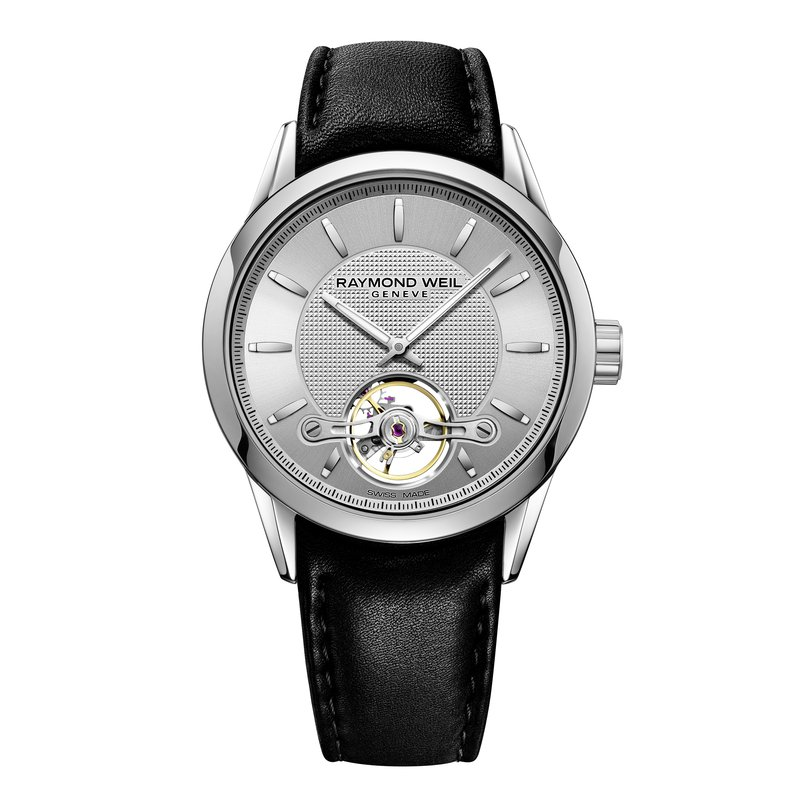 Raymond Weil Automatic open balance wheel, 42mm Calibre RW1212, steel on leather strap, silver dial