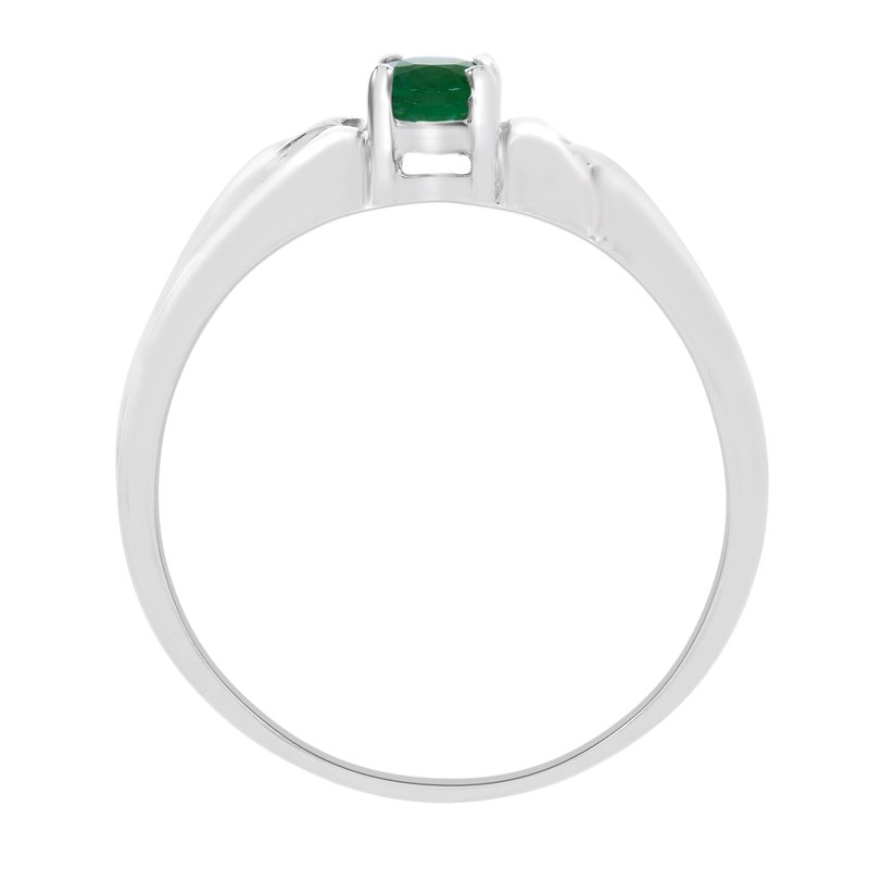 Color Merchants 10k White Gold Oval Emerald Ring