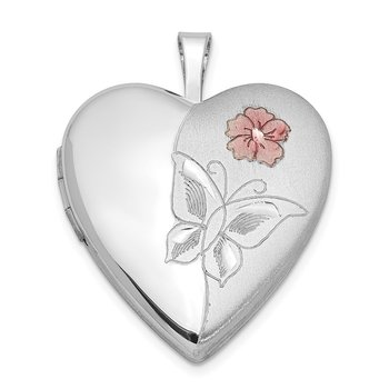 Sterling Silver Rhodium-plated Enameled Flower Butterfly Heart Locket