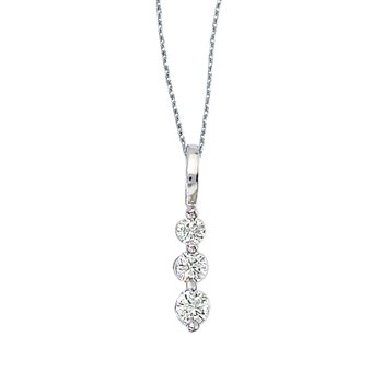 14k White Gold 0.25 Ct Three Stone Diamond Pendant
