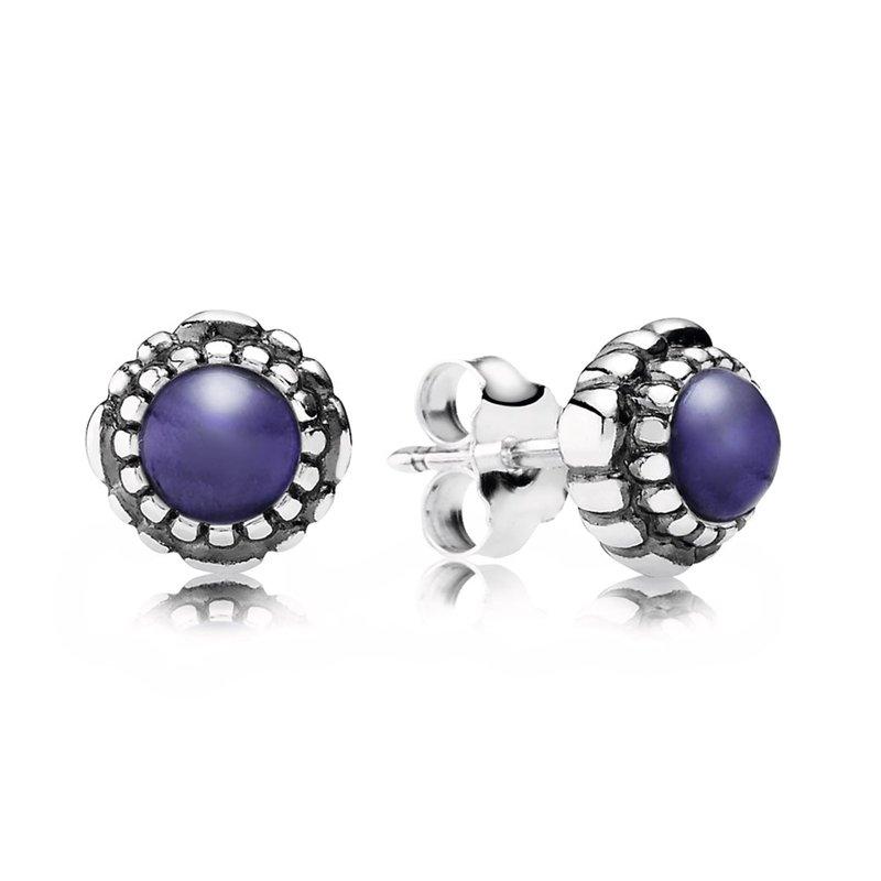 Pandora Birthday Blooms Earrings September Lapis Lazuli